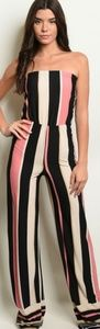 Black Pink Stripes Jumpsuit
